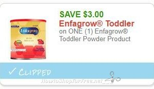 **NEW Printable Coupon** $3.00/1 Enfagrow Toddler Powder Product