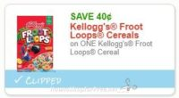 **NEW Printable Coupon** .40/1 Kellogg's Froot Loops Cereal