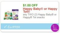 **NEW Printable Coupon** $1.00/2 Happy Baby or Happy Tot snacks