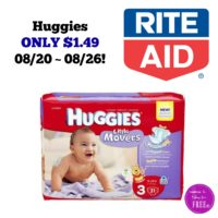 Huggies ONLY $1.49 at Rite Aid 08/20 ~ 08/26!!