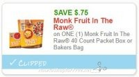 **NEW Printable Coupon** .75/1 Monk Fruit In The Raw 40 Count Packet Box or Bakers Bag