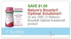 photograph relating to Nature's Bounty Printable Coupon named Fresh new Printable Coupon** $1.00/1 Natures Bounty Best