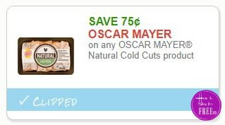 Save $0.75 on any OSCAR MAYER Natural Cold Cuts product