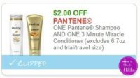 **NEW Printable Coupon** $2.00 off ONE Pantene Shampoo AND ONE 3 Minute Miracle Conditioner (excludes 6.7oz and trial/travel size)