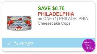 Save $0.75 on ONE (1) PHILADELPHIA Cheesecake Cups