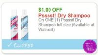 **NEW Printable Coupon** $1.00/1 Psssst! Dry Shampoo full size (Available at Walmart)