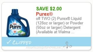 **NEW Printable Coupon** $2.00/2 Purex Liquid (128oz or larger) or Powder (50oz or larger) Detergent
