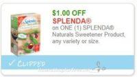 **NEW Printable Coupon** $1.00/1 SPLENDA Naturals Sweetener Product