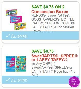 **NEW Printable Coupons** 2  SweeTARTS and other Candy Coupons Pre-Clipped for You!