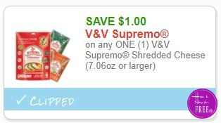 **NEW Printable Coupon** $1.00/1 V&V Supremo Shredded Cheese