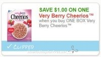 Save $1.00 when you buy ONE BOX Very Berry Cheerios™