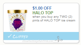 Save $1 when you buy any TWO (2) pints of HALO TOP ice cream