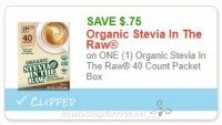 **NEW Printable Coupon** .75/1 Organic Stevia In The Raw 40 Count Packet Box