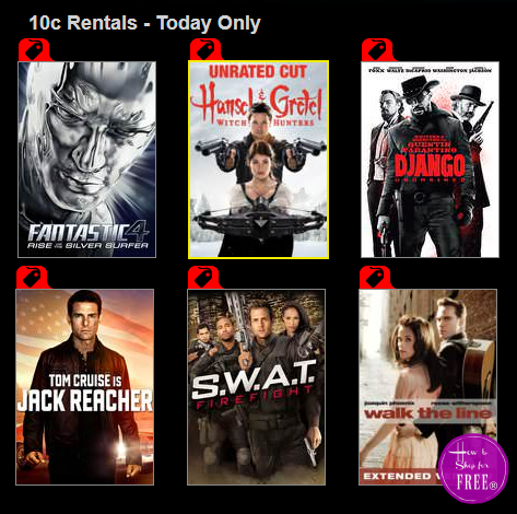 Today Only, Rent #Movies for only 10¢ each!