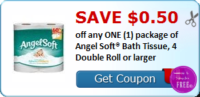 SAVE $0.50 off any ONE (1) package of Angel Soft® Bath Tissue, 4 Double Roll or larger