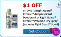 $1.00 OFF on ONE (1) Right Guard® Xtreme™ Antiperspirant Deodorant or Right Guard® Xtreme™ Precision Dry Spray (excludes Right Guard® Sport)