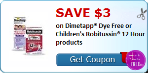 SAVE $3.00 on Dimetapp® Dye Free or Children's Robitussin® 12 Hour products