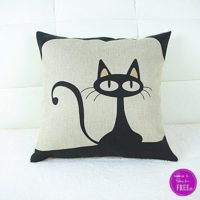 $2.27 Black Cat Pillow Cover (Free Ship!) Fun for Halloween!