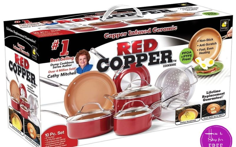 10pc. Red Copper Ceramic Cookware Set, $74.99 Shipped!