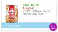 **NEW Printable Coupon** .75/1 Bag of Frozen Arby's Curly Fries