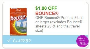 **NEW Printable Coupon** $1.00/1 Bounce Product 34 ct or larger