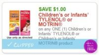 **NEW Printable Coupon** $1.00/1 Children's or Infants' TYLENOL or Children's or Infants' MOTRIN product