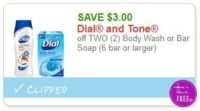**NEW Printable Coupon** $3.00/2 Dial or Tone Body Wash or Bar Soap (6 bar or larger)