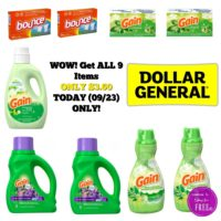 Today (09/23) ONLY! Get All 9 Items for Just $3.60 at Dollar General!!