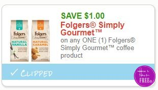 **NEW Printable Coupon** $1.00/1 Folgers Simply Gourmet™ coffee product