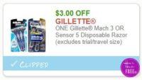 **NEW Printable Coupon** $3.00/1  Gillette Mach 3 OR Sensor 5 Disposable Razor