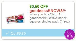 **NEW Printable Coupon** .50/1 goodnessKNOWS snack squares singles pack (1.2oz)