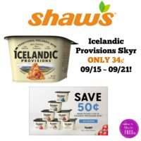 Icelandic Provisions Skyr ONLY 34¢ at Shaw's 09/15 ~ 09/21