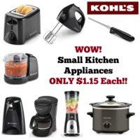 RUN! Small Kitchen Appliances ONLY $1.15 Each at Kohl's~ Good Through 10/01!