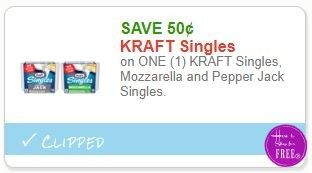 **NEW Printable Coupon** .50/1 KRAFT Singles, Mozzarella and Pepper Jack Singles.