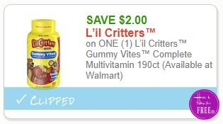 **NEW Printable Coupon** $2.00/1 L'il Critters™ Gummy Vites™ Complete Multivitamin 190ct