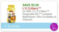**NEW Printable Coupon** $2.00/1 L'il Critters™ Despicable Me™ Complete Multivitamin 190ct
