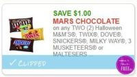 **NEW Printable Coupon** $1.00/2 Halloween M&M'S, Twix, Dove, Snickers, Milky Way,  3 Musketeers or Maltesters