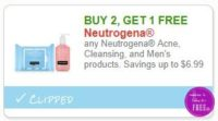 **NEW Printable Coupon** B2G1 FREE Neutrogena Acne, Cleansing, and Men's products. Savings up to $6.99