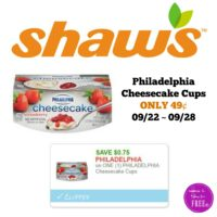 Philadelphia Cheesecake Cups ONLY 49¢ at Shaw's 09/22 ~ 09/28!