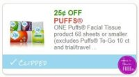 **NEW Printable Coupon** .25/1 Puffs Facial Tissue product 68 sheets or smaller
