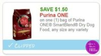**NEW Printable Coupon** $1.50/1 bag of Purina ONE SmartBlend Dry Dog Food, any size any variety