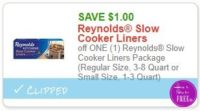 **NEW Printable Coupon** $1.00/2 Reynolds Slow Cooker Liners Package