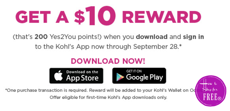 FREE $10.00 Kohls Coupon with App