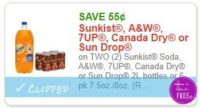 Save $0.55 on TWO (2) Sunkist Soda, A&W, 7UP, Canada Dry or Sun Drop 2L bottles or 6-pk 7.5oz./8oz.