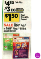 Gain Flings or Tide Pods (12-16 ct) Only $1.50 at Dollar General