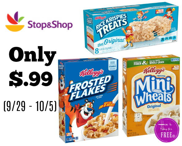 Kellogg's Cereal or Rice Krispies Treats Only $.99 at Stop & Shop