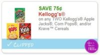 **NEW Printable Coupon** .75/2 Kellogg's Apple Jacks, Corn Pops, and/or Krave™ Cereals