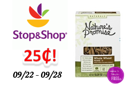 Nature's Promise Pasta only $.25 at Stop & Shop!