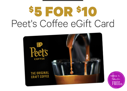 $5 for $10 Peet's Coffee GC!! ~Today ONLY!