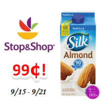 Silk Almond Milk only $.99 at Stop & Shop!